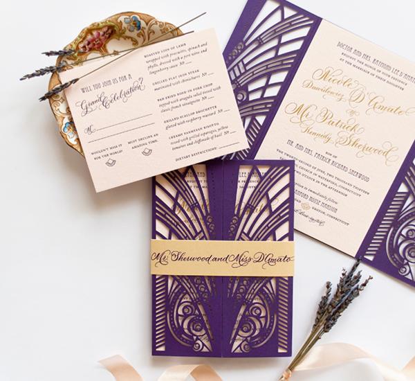 Lasercut Great Gatsby Wedding Invitations Coral Pheasant OSBP4 Nicole + Patricks Vintage Inspired Lasercut Wedding Invitations