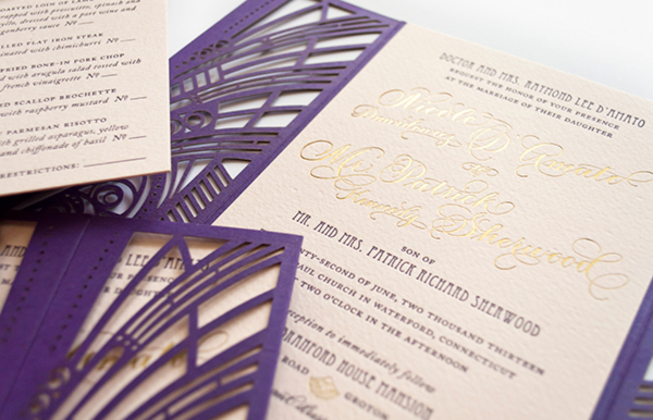 Lasercut Great Gatsby Wedding Invitations Coral Pheasant OSBP9 Nicole + Patricks Vintage Inspired Lasercut Wedding Invitations