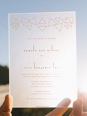 Modern Geometric Lucite Wedding Invitations In The Now Sweet Little Photographs Wedding Stationery Inspiration: Geometric Shapes