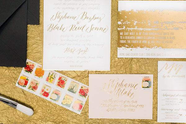 Painterly Gold Foil Wedding Invitations2 Stephanie + Blakes Painterly Gold Foil Wedding Invitations