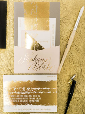 Painterly Gold Foil Wedding Invitations6 Stephanie + Blakes Painterly Gold Foil Wedding Invitations