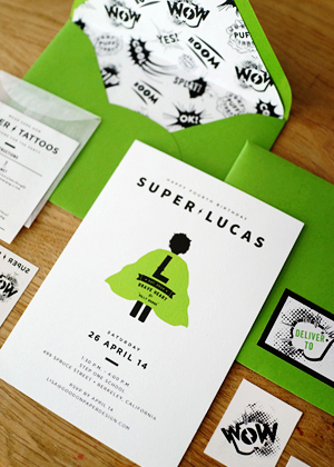 Superhero Birthday Party Invitations Good on Paper OSBP6 Lucass Superhero 4th Birthday Party Invitations