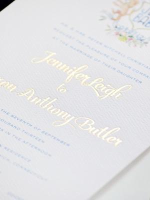 Watercolor Gold Foil Crest Wedding Invitations Roseville Designs OSBP15 Jennifer + Barrons Gold Foil Watercolor Crest Wedding Invitations