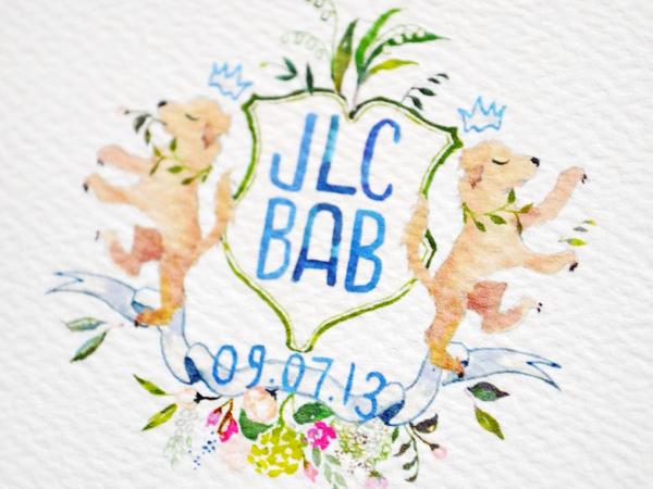Watercolor Gold Foil Crest Wedding Invitations Roseville Designs OSBP5 Jennifer + Barrons Gold Foil Watercolor Crest Wedding Invitations
