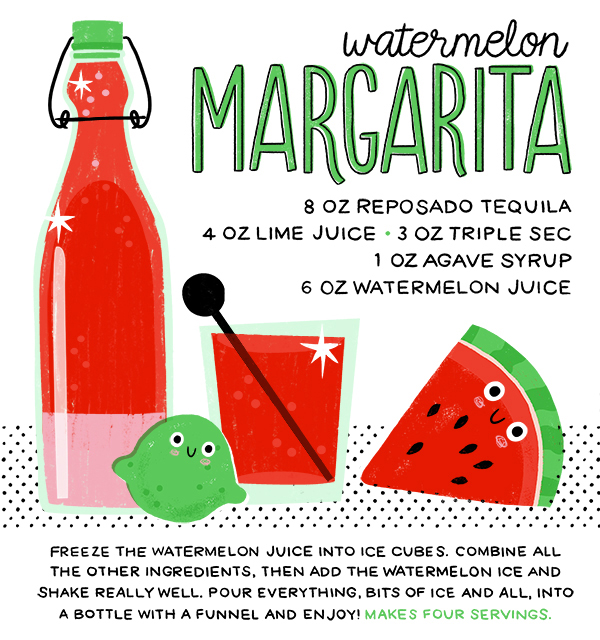 Watermelon Margarita Recipe Card Hooray Today for Oh So Beautiful Paper Summer Cocktail Series: Cocktail Picnic Party Recipes