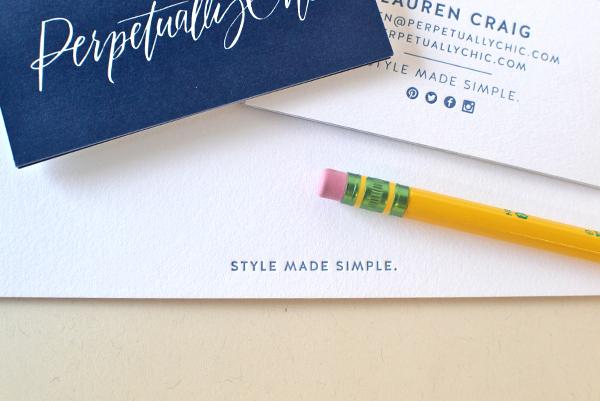 Blue White Calligraphy Letterpress Stationery Studio SloMo OSBP4 Perpetually Chics Letterpress + Calligraphy Business Stationery