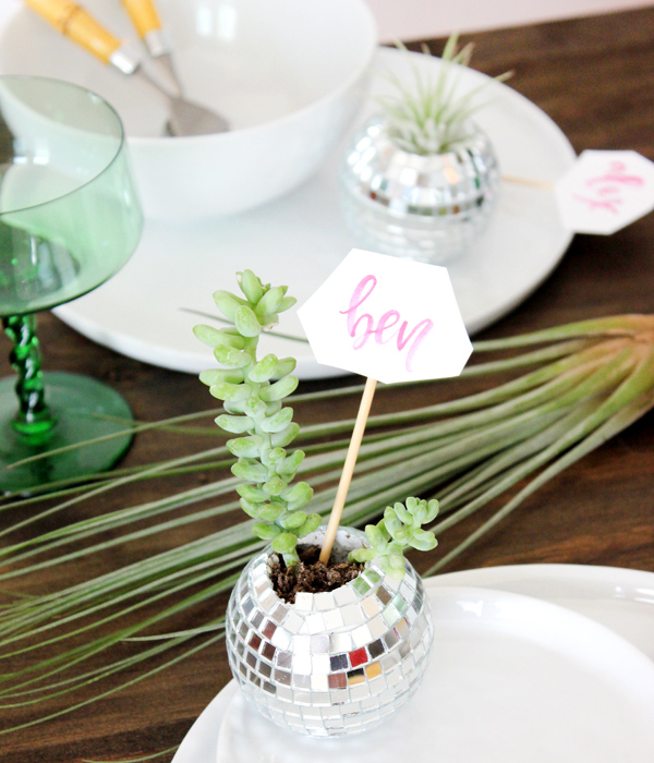 DIY Tutorial Disco Ball Place Cards Lauren Saylor OSBP DIY Tutorial: Mini Disco Ball Place Cards