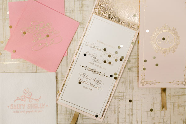 Elegant Gold Foil Blush Pink Wedding Invitations Papellerie OSBP10 Michelle + Renzos Elegant Gold Foil Wedding Invitations