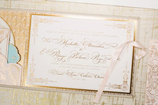 Elegant Gold Foil Blush Pink Wedding Invitations Papellerie OSBP2 Michelle + Renzos Elegant Gold Foil Wedding Invitations