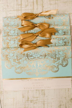 Elegant Gold Foil Blush Pink Wedding Invitations Papellerie OSBP4 Michelle + Renzos Elegant Gold Foil Wedding Invitations