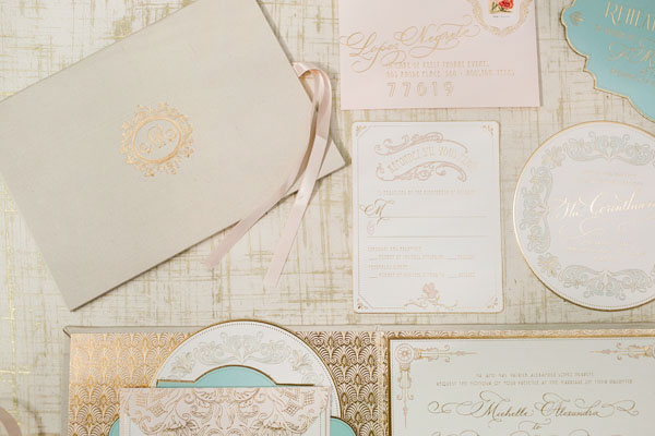 Elegant Gold Foil Blush Pink Wedding Invitations Papellerie OSBP6 Michelle + Renzos Elegant Gold Foil Wedding Invitations