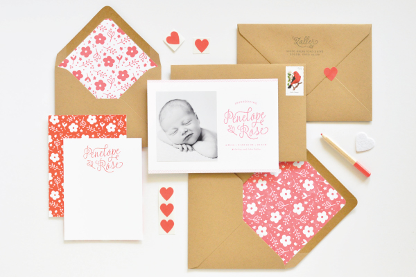 Floral Letterpress Baby Announcements Lauren Chism OSBP Penelopes Floral Letterpress Baby Announcements
