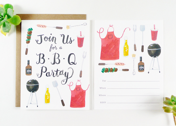 Four Wet Feet Illustrated Fill In Party Invitations BBQ2 Quick Pick: Four Wet Feet