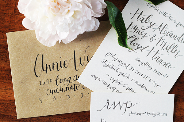 Informal Calligraphy Letterpress Wedding Invitations Goodheart Design Haley + Millers Informal Calligraphy Wedding Invitations