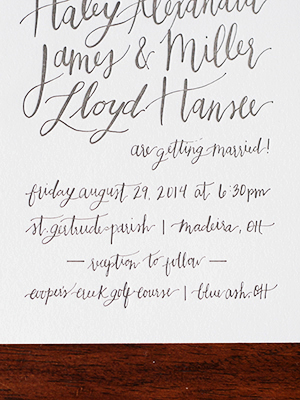Informal Calligraphy Letterpress Wedding Invitations Goodheart Design10 Haley + Millers Informal Calligraphy Wedding Invitations
