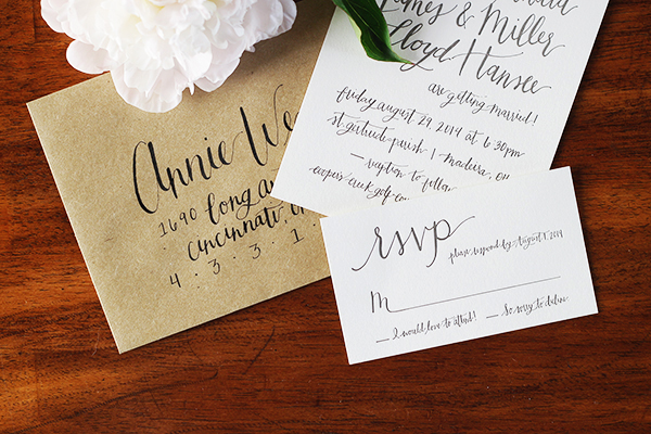 Informal Calligraphy Letterpress Wedding Invitations Goodheart Design2 Haley + Millers Informal Calligraphy Wedding Invitations