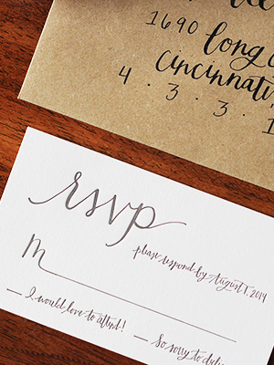 Informal Calligraphy Letterpress Wedding Invitations Goodheart Design6 Haley + Millers Informal Calligraphy Wedding Invitations
