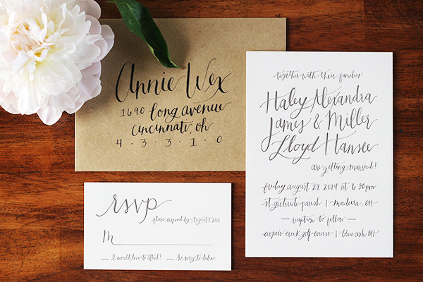 Informal Calligraphy Letterpress Wedding Invitations Goodheart Design8 Haley + Millers Informal Calligraphy Wedding Invitations