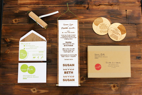 Laser Cut Wood Wedding Invitations Fourth Year Studio Susan + Beths Laser Cut Wood Veneer Wedding Invitations