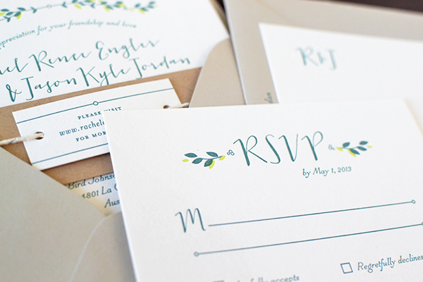 Minimalist Nature Inspired Letterpress Wedding Invitations Studio SloMo2 Rachel + Jasons Modern Nature Inspired Wedding Invitations