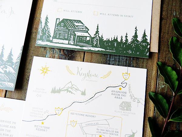 Mountain Evergreen Wedding Invitations Harken Press7 Margaret + Glenns Mountain Inspired Wedding Invitations