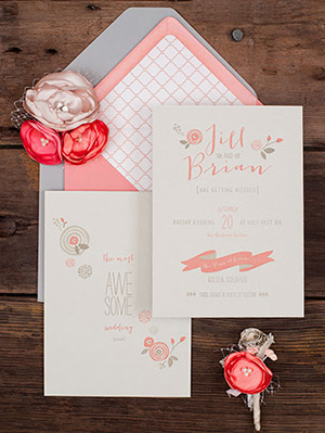 Pink Letterpress Wedding Invitations RuffHouseArt OSBP11 Jill + Brians Modern Pink Letterpress Wedding Invitations