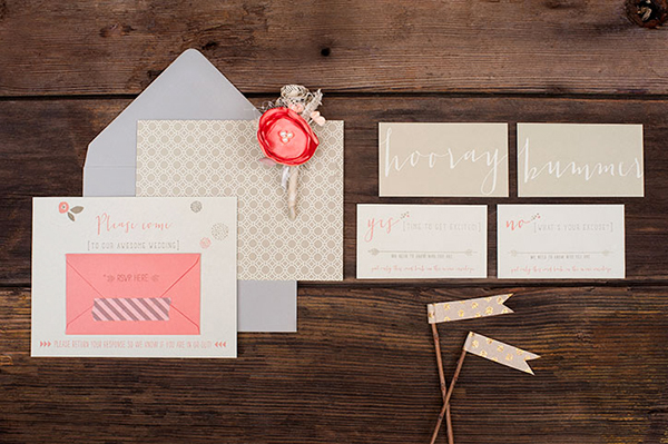 Pink Letterpress Wedding Invitations RuffHouseArt OSBP5 Jill + Brians Modern Pink Letterpress Wedding Invitations
