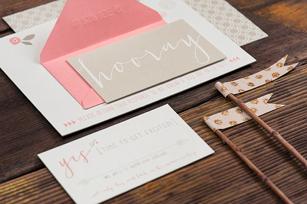Pink Letterpress Wedding Invitations RuffHouseArt OSBP6 Jill + Brians Modern Pink Letterpress Wedding Invitations