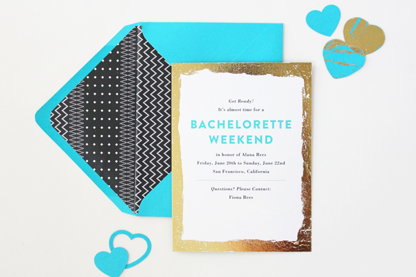 Teal Gold Modern Bachelorette Party Invitations Vellum Vogue OSBP10 Alanas Modern Teal + Gold Bachelorette Party Itineraries