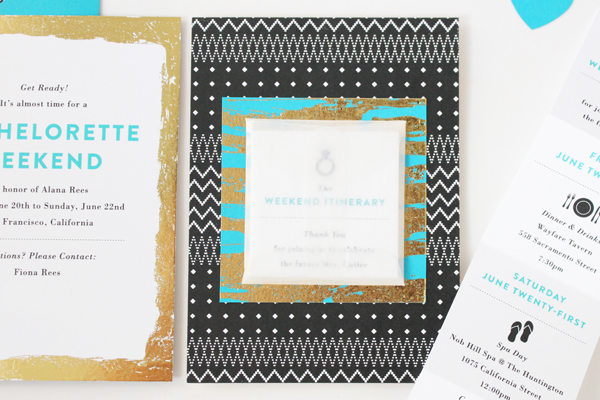 Teal Gold Modern Bachelorette Party Invitations Vellum Vogue OSBP3 Alanas Modern Teal + Gold Bachelorette Party Itineraries
