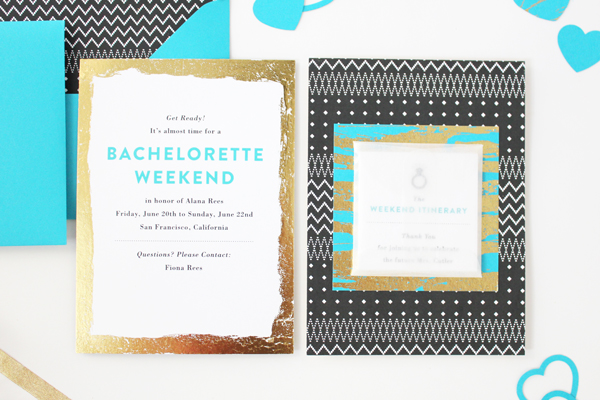 Teal Gold Modern Bachelorette Party Invitations Vellum Vogue OSBP5 Alanas Modern Teal + Gold Bachelorette Party Itineraries