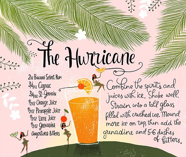 The Hurricane Modern Tiki Cocktail Party Recipe Cards Dinara Mirtalipova OSBP Summer Cocktail Series: Modern Tiki Party Cocktail Recipes