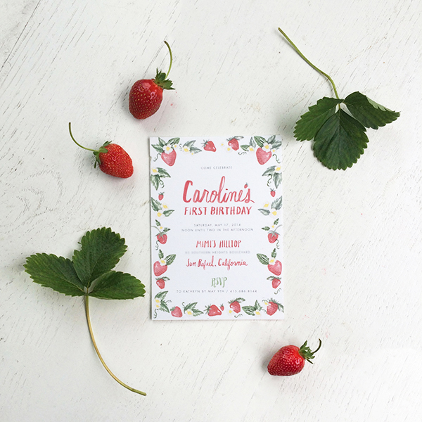 1a strawberry first birthday party invitations snippetandink leah mccormick Carolines Strawberry First Birthday Party!