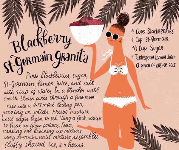 Blackberry St Germain Granita Recipe Card Dinara Mirtalipova OSBP Summer Cocktail Series: Blackberry St Germain Granita
