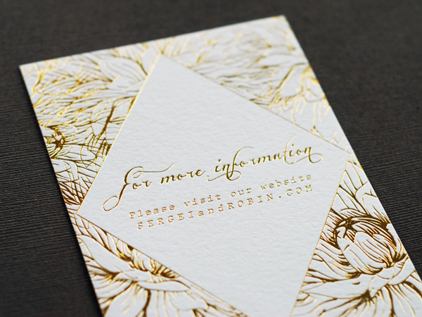 Colorful Floral Gold Foil Wedding Invitations Umama OSBP7 Robin + Sergeis Floral and Gold Foil Wedding Invitations
