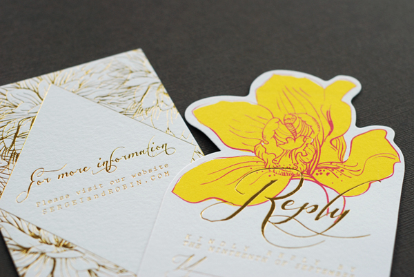 Colorful Floral Gold Foil Wedding Invitations Umama OSBP9 Robin + Sergeis Floral and Gold Foil Wedding Invitations