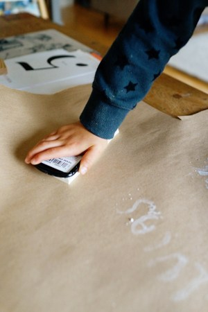 DIY with Kids Hand Stamped Gift Wrap Good on Paper12 300x450 DIY with Kids: Hand Carved Stamp Wrapping Paper