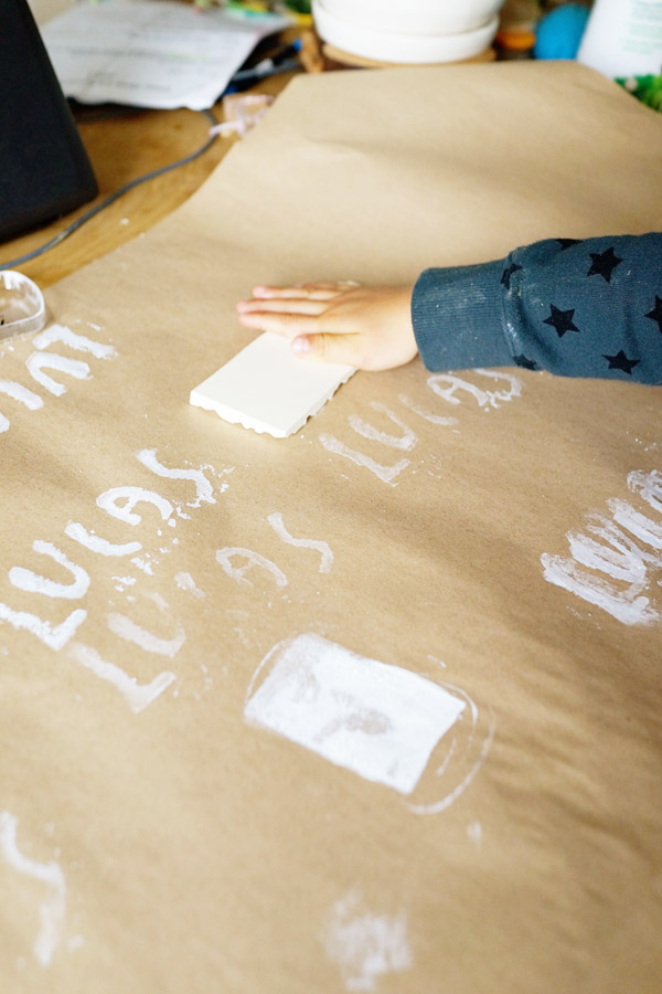 DIY with Kids Hand Stamped Gift Wrap Good on Paper17 DIY with Kids: Hand Carved Stamp Wrapping Paper
