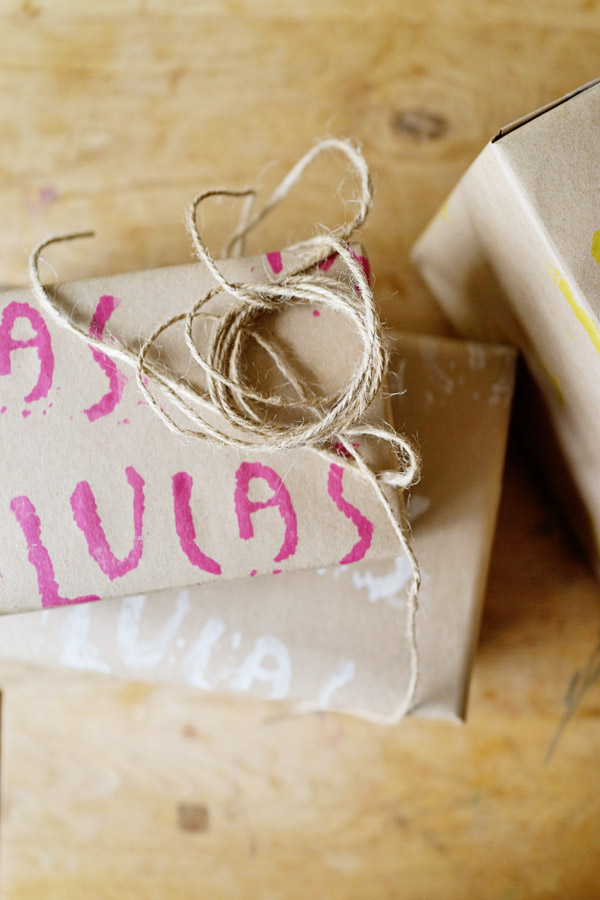 DIY with Kids Hand Stamped Gift Wrap Good on Paper43 DIY with Kids: Hand Carved Stamp Wrapping Paper