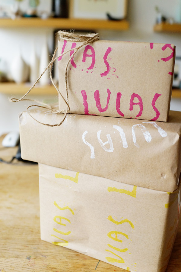 DIY with Kids Hand Stamped Gift Wrap Good on Paper47 DIY with Kids: Hand Carved Stamp Wrapping Paper