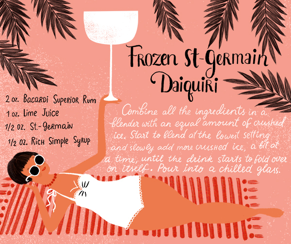 Frozen St Germain Daiquiri Recipe Card Dinara Mirtalipova OSBP Summer Cocktail Series: Frozen St Germain Daiquiri