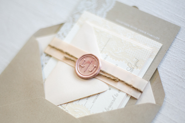 Kraft Paper Lace Wedding Invitations Ruby the Fox OSBP3 Lauren + Jeffs Lace and Kraft Paper Wedding Invitations