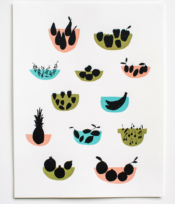 Letterpress Fruit Art Print Erin Wallace OSBP Quick Pick: Erin Wallace Letterpress Stationery