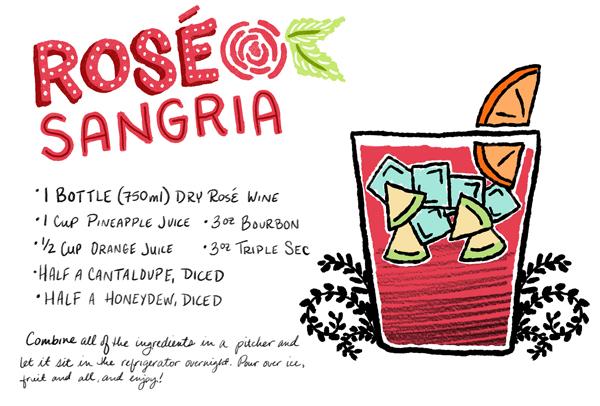 Rose Sangria Cocktail Recipe Card Shauna Lynn Illustration OSBP Friday Happy Hour: Rosé Sangria