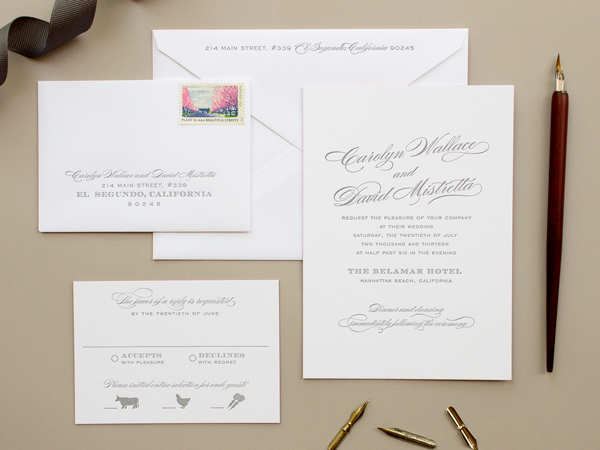 Traditional Romantic Wedding Invitations Banter and Charm OSBP8 Carolyn + Daves Traditional Romantic Wedding Invitations