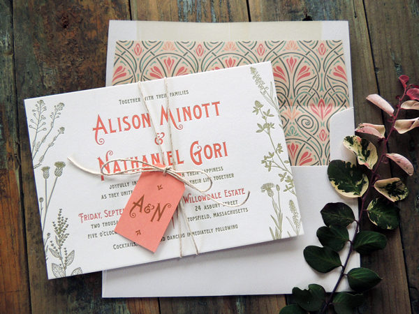 Art Nouveau Garden Wedding Invitations Harken Press OSBP Alison + Nathaniels Art Nouveau Garden Wedding Invitations