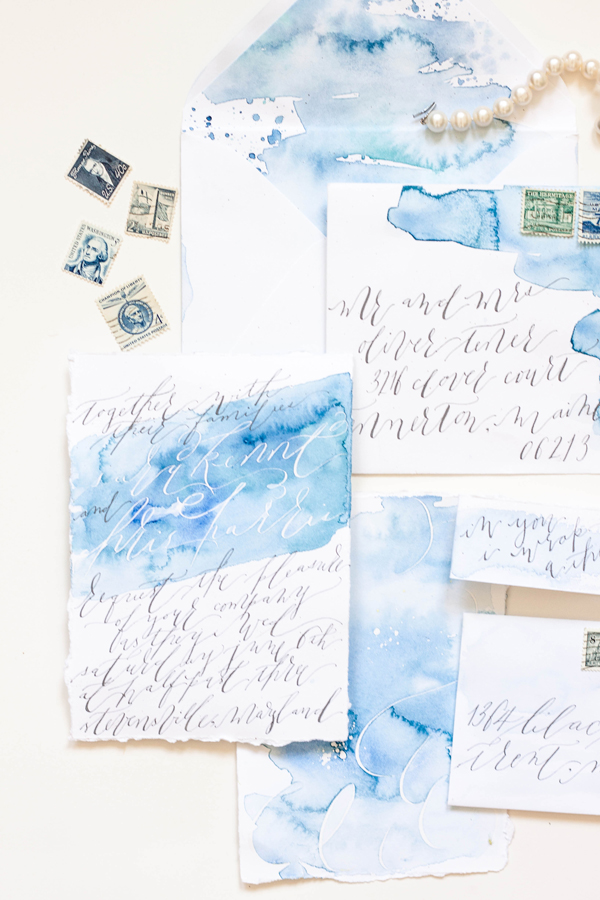 Blue Watercolor Calligraphy Wedding Invitations Moira Design Studio9 Chris + Saras Watercolor Calligraphy Wedding Invitations