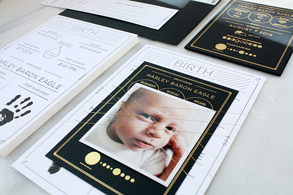 Modern Black White Birth Announcement Blake Eagle OSBP5 Harleys Modern Black and White Baby Announcements