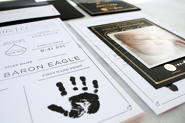 Modern Black White Birth Announcement Blake Eagle OSBP6 Harleys Modern Black and White Baby Announcements