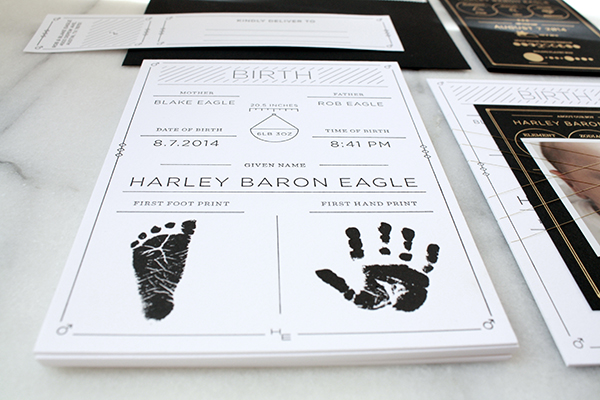 Modern Black White Birth Announcement Blake Eagle OSBP7 Harleys Modern Black and White Baby Announcements
